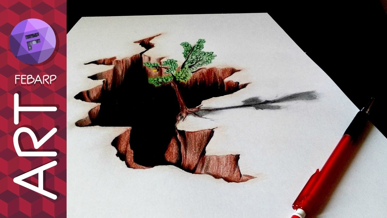 Drawing Of Nature In 3d How To Draw 3d Art On Paper