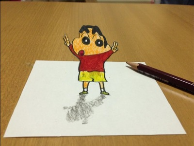 How to draw 3D Shin Chan Easy and Simple