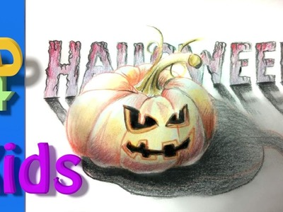 How to draw a 3D Halloween Pumpkin step by step .#18