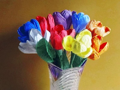 How To Make Tulip Flowers With Paper Napkins |