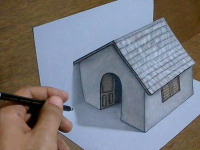 Nature arts 100 Trick art Drawing 3d tiny House on paper