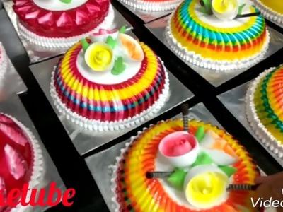 Amazing rainbow cake | easy frosting recipe | colourful cakes gel and glaze | garnishing