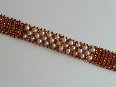 Beaded Bracelet for Beginners. Seed beads and pearl beads bracelet