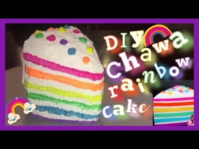 DIY CHAWA RAINBOW CAKE SLICE SQUISHY!!!!