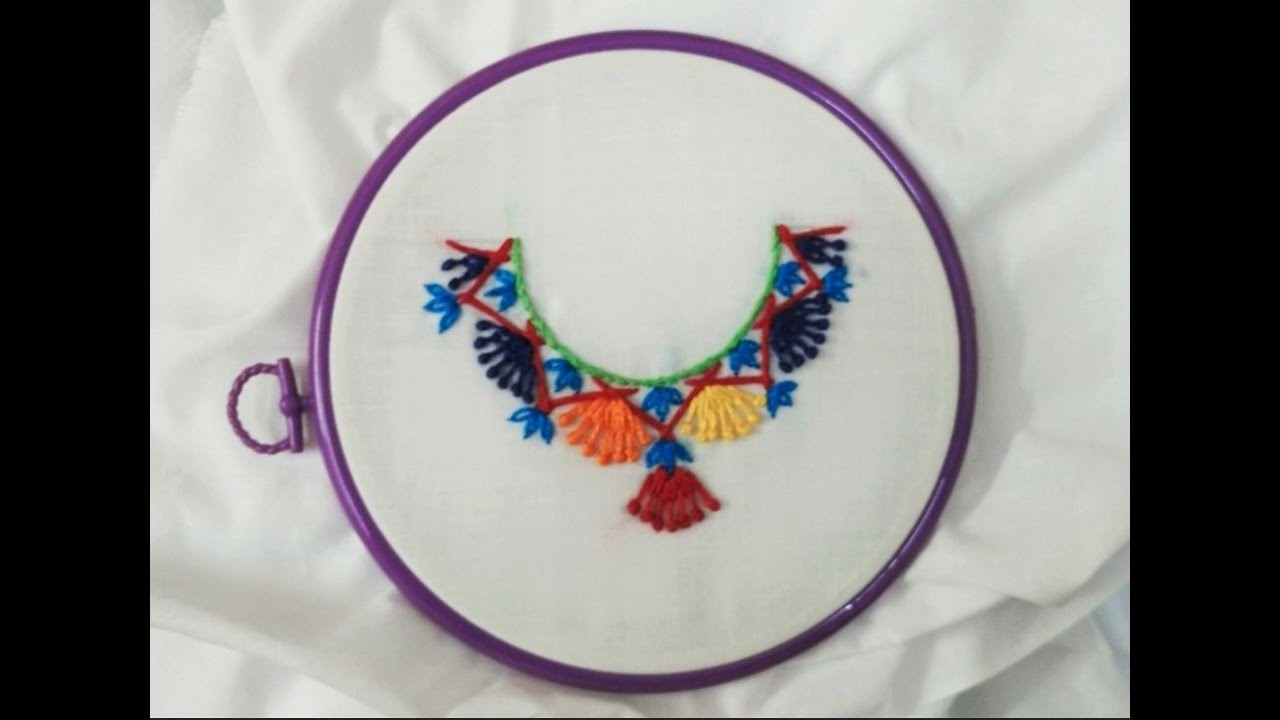 Hand Embroidery - Lazy Knot and Stem Stitches in Dress Neckline