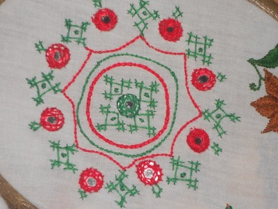 Hand Embroidery | SIMPLE AND ELEGANT DESIGN | USING LATTICE WORK & MIRROR WORK