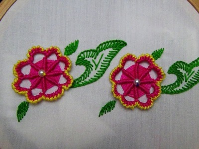 Hand Embroidery: Spider Web and Cast on Stitch