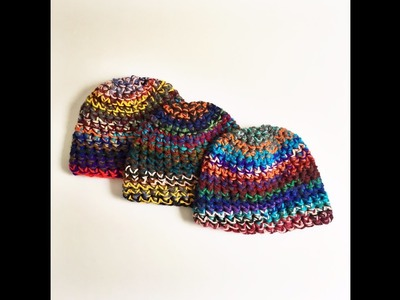How to make cool color combos in a scrap yarn beanie