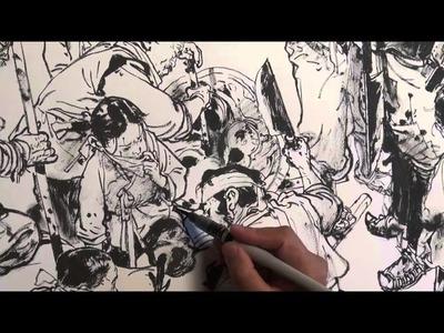 JungGi Kim 김정기 Brush pen drawing, Dragon hunter
