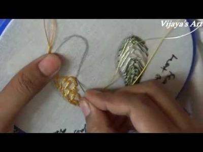 Leaf stitch design for beginners - 10  - Feather stitch