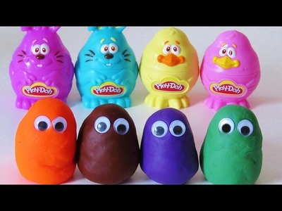 Learn colors and counting with play doh toy surprise eggs learn english esl