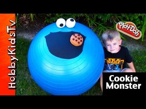 Mega GIANT Cookie Monster Play-Doh Head Surprise! Chocolate Egg Toy Story HobbyKidsTV