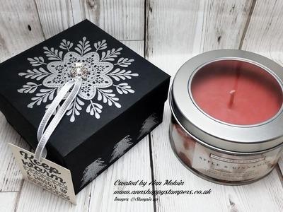#7 Seasonal Sundays Heat Embossed Gift Box for large Tin Candle