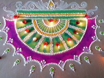 Beautiful Rangoli Designs With Colours for Festivals - Rangoli Competition Ideas -  For Doors!