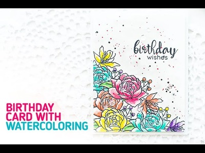 Birthday Card with Masking & Watercoloring (Behind the Scenes Video)   Simon Say Stamp Blog Hop