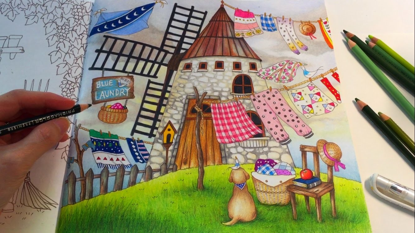 Blue Bird's Laundry (Part 3) | ROMANTIC COUNTRY Coloring Book | Coloring With Colored Pencils