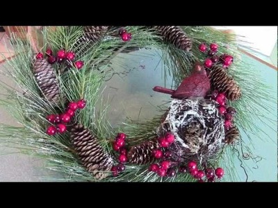 Cardinal & Berries Christmas Wreath Tutorial
