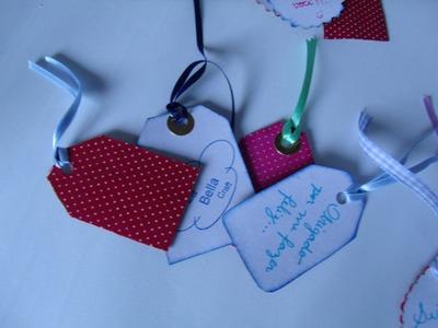 Como fazer Tag com tecido!!.Serie Tags