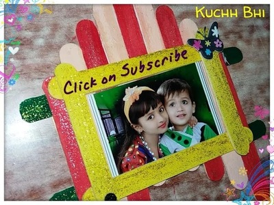 Craft Ideas - How To Make Photo Frame From Ice Cream Stick. Popsicle Stick Photo Frame