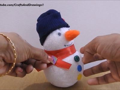 Cute Sock Snowman ~ How to Make Snowman ~ Super Easy Tutorial. Ideas ~ X'mas Room Decor ~ DIY