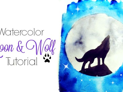 Easy Moon & Wolf Watercolor Tutorial