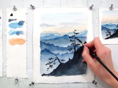 Easy step by step watercolor tutorial: Blue Ridge Mountains (updated)