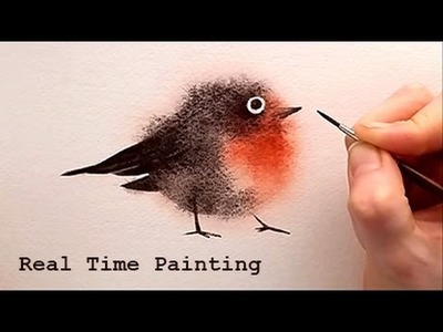 """Explained Real Time Watercolor Illustration """"Fuzzy Bird"""" Painting by Iraville"""
