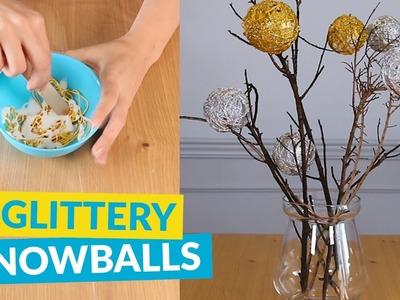 Glittery DIY Snowball Decor