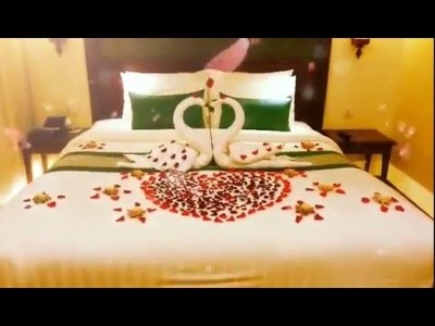 Honeymoon decorating Idea | Honeymoon bed decoration | Hotel bed decor for honeymoon couple