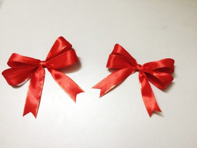 How to make double loops ribbon bow for gifts