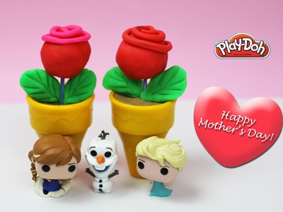 ✿ Play Doh Frozen Ice-cream Shop Mother's Day Special ✿ Rose Cake Pop