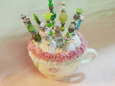 Shabby Chic Pin Cushions, Stick Pins & Altered Bottle