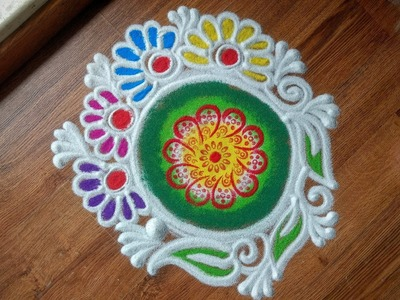 Simple, Quick and Easy Instant Rangoli Design with colours using Stencil