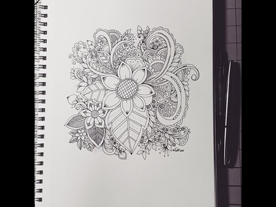 X8 speed - Inky Flower Zendoodle Journal Entry by kcdoodleart