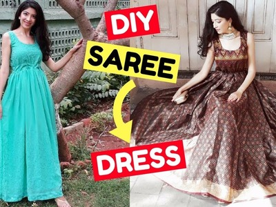 DIY Convert Old Saree into Dress & Gown | LookBook | How to Recycle Old Clothes || Bhawna Ahuja