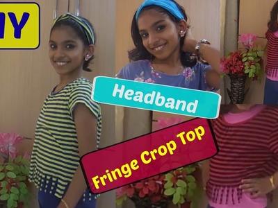 DIY Fringe Crop Top & Headband   Summer DIY ideas   DIY's Using old T-Shirts   Reuse old T-Shirts