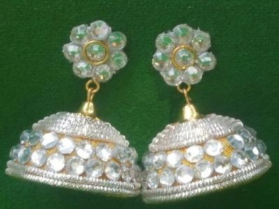 (DIY)How to make Designer Wear Silver Jhumkas.The Stunning Handmade's.