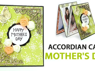 Easy DIY Mothers Day Folding card, Mother's Day Accordion Card Making