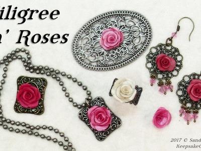 Filigree 'n' Roses Polymer Clay Jewelry Tutorial