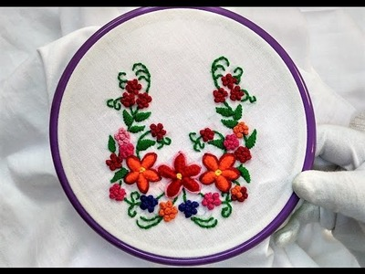 Hand Embroidery - Cast on Knotted and Satin Stitch