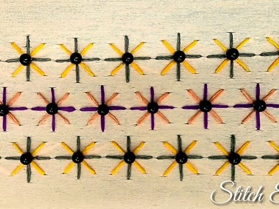 Hand Embroidery : Double Cross Stitch Embroidery Border Design, With pearls
