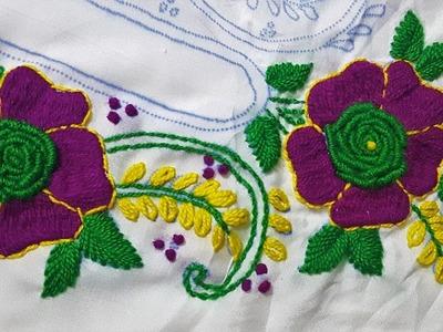 Hand Embroidery  flower Brazilian Stitch Part2