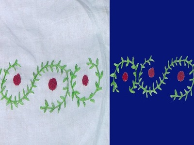 Hand Embroidery: French Knots( Stump Works ) Rose Flowers Stitch Designs for Beginners| Chain Stitch