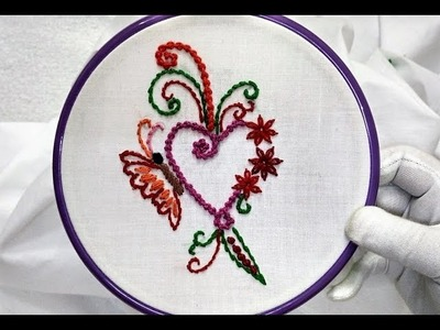 Hand Embroidery - Heart Frame Design (Butterfly and Cute Flower) and Stitch [Easy]