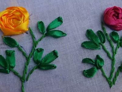 Hand Embroidery Satin Ribbon Rose Flower Design by Amma Arts