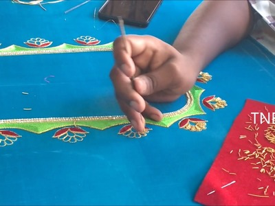 Hand embroidery tutorial for beginners, hand embroidery stitches, zardosi work blouse designs