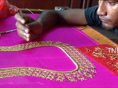 Hand embroidery tutorial for beginners, hand embroidery designs, maggam zardosi work blouses