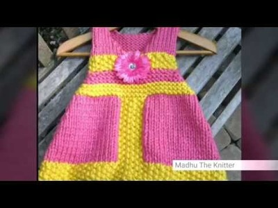 Hand knitted woolen frock design for kids in hindi - Madhu The Knitter