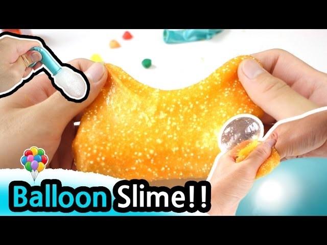 How to Make Balloon Orange Slime!!!. DIY Slime Recipe