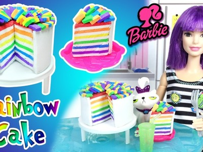 How to Make Rainbow Cake for Barbie Doll - DIY Easy Doll Crafts - Making Kids Toys